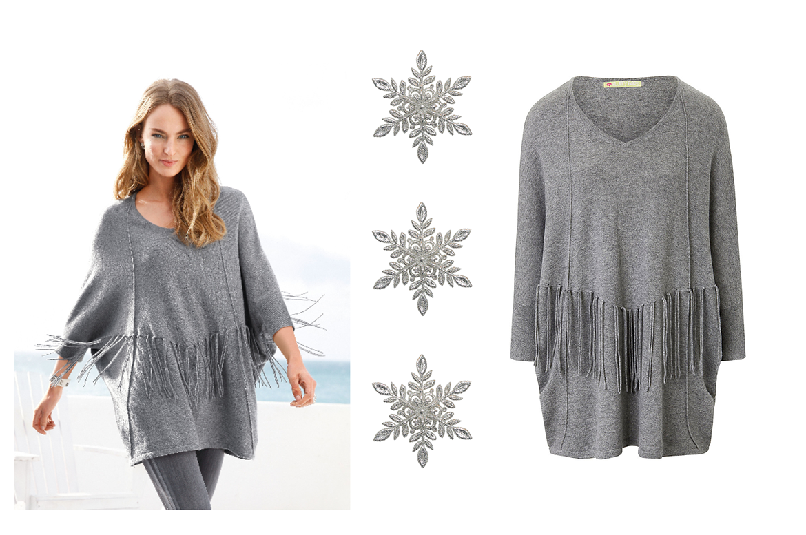 grey poncho sweater by peter hahn